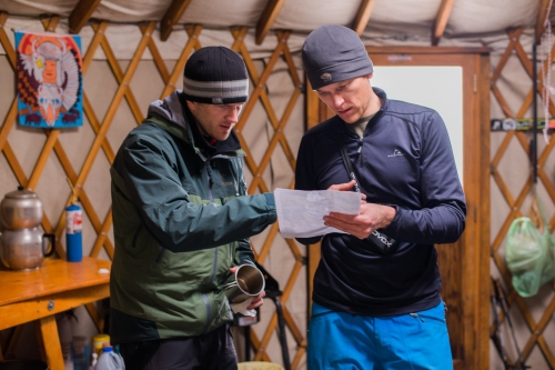 Planning a route in the yurt.