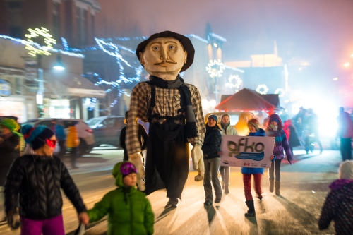 A towering marionette honors Olaus Jeldness, the Norwegian miner who began Canada's oldest winter carnival in 1898.
