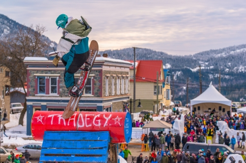 A snowboarder admires the aerial view of Rossland's historic downtown during the Rail Jam finals.